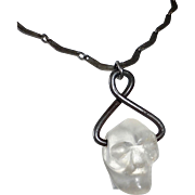 Jail House Folk Art Carved Quartz Skull Necklace