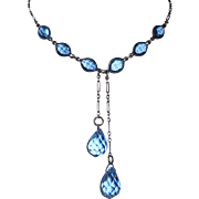 Art Deco Sterling & Blue Crystals Lingerie Double Drop Necklace