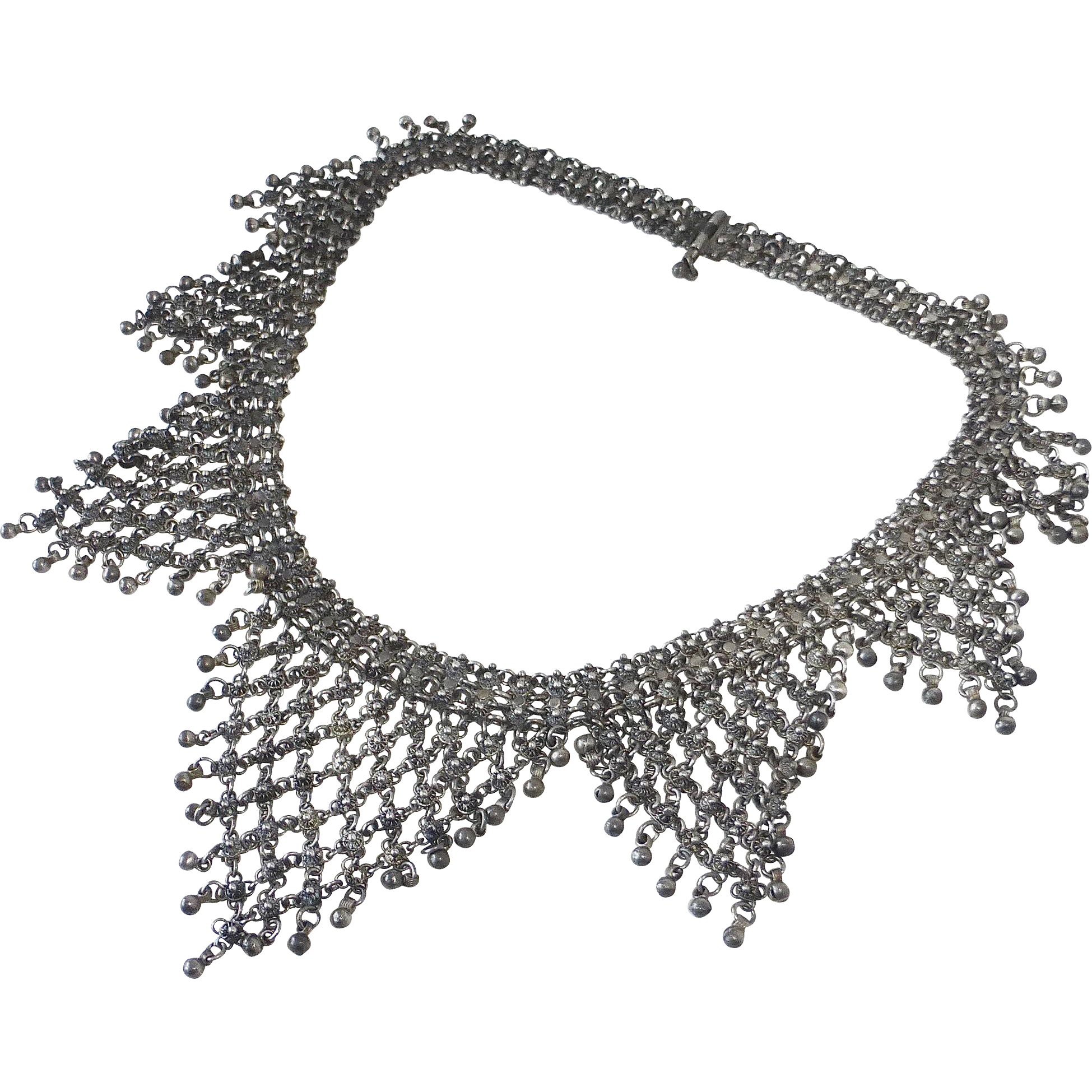 Sterling Exotic Ethnic Tribal Indian Cannetille Filigree Necklace