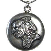 Sterling Pendant Necklace w Native American Cameo