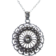 835 Silver Cannetille Filigree Pendant & Chain