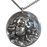 Art Nouveau Sterling Repousse Woman Pendant Necklace