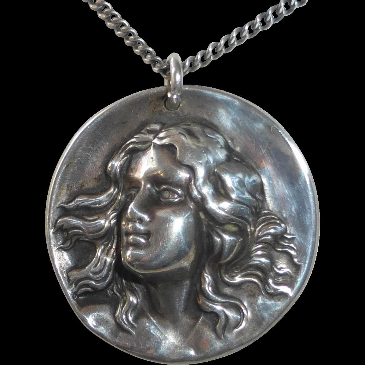 Art Nouveau Sterling Repousse Woman Pendant Necklace