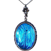 Art Deco Sterling Iridescent Blue Morpho Butterfly Wing Pendant