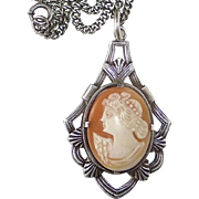 Edwardian Sterling Necklace Handcarved Shell Cameo