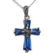 Sterling Marcasite Blue Crystal Cross Necklace