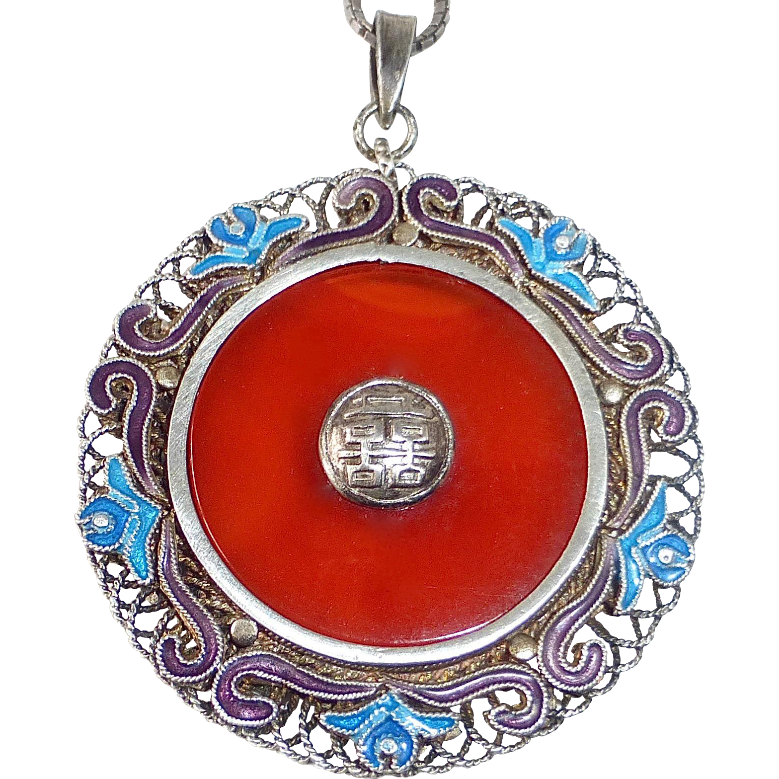 Chinese Sterling Filigree Carnelian & Enamel Double Sided Pendant Necklace