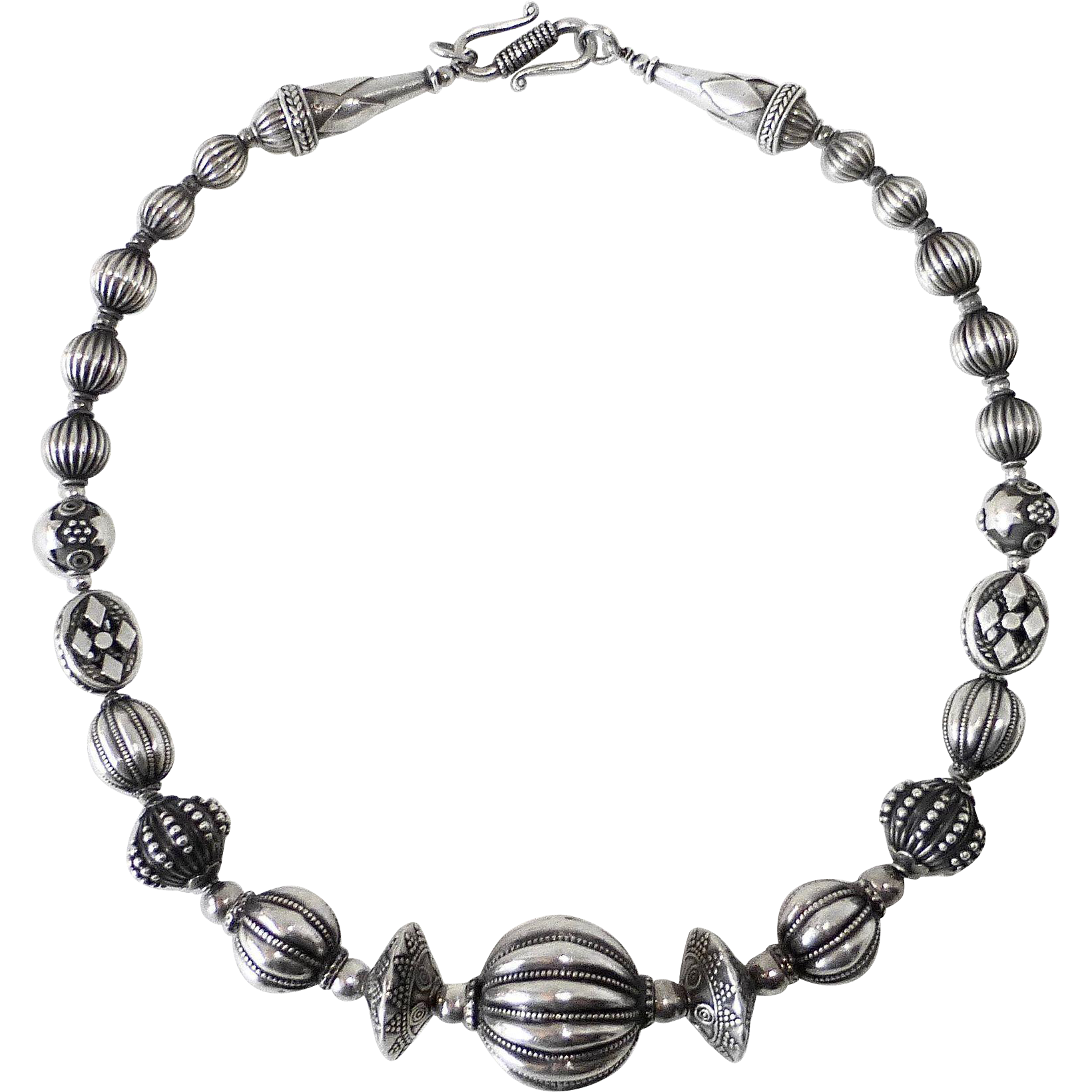 Ethnic Sterling Silver Exotic Beaded Necklace