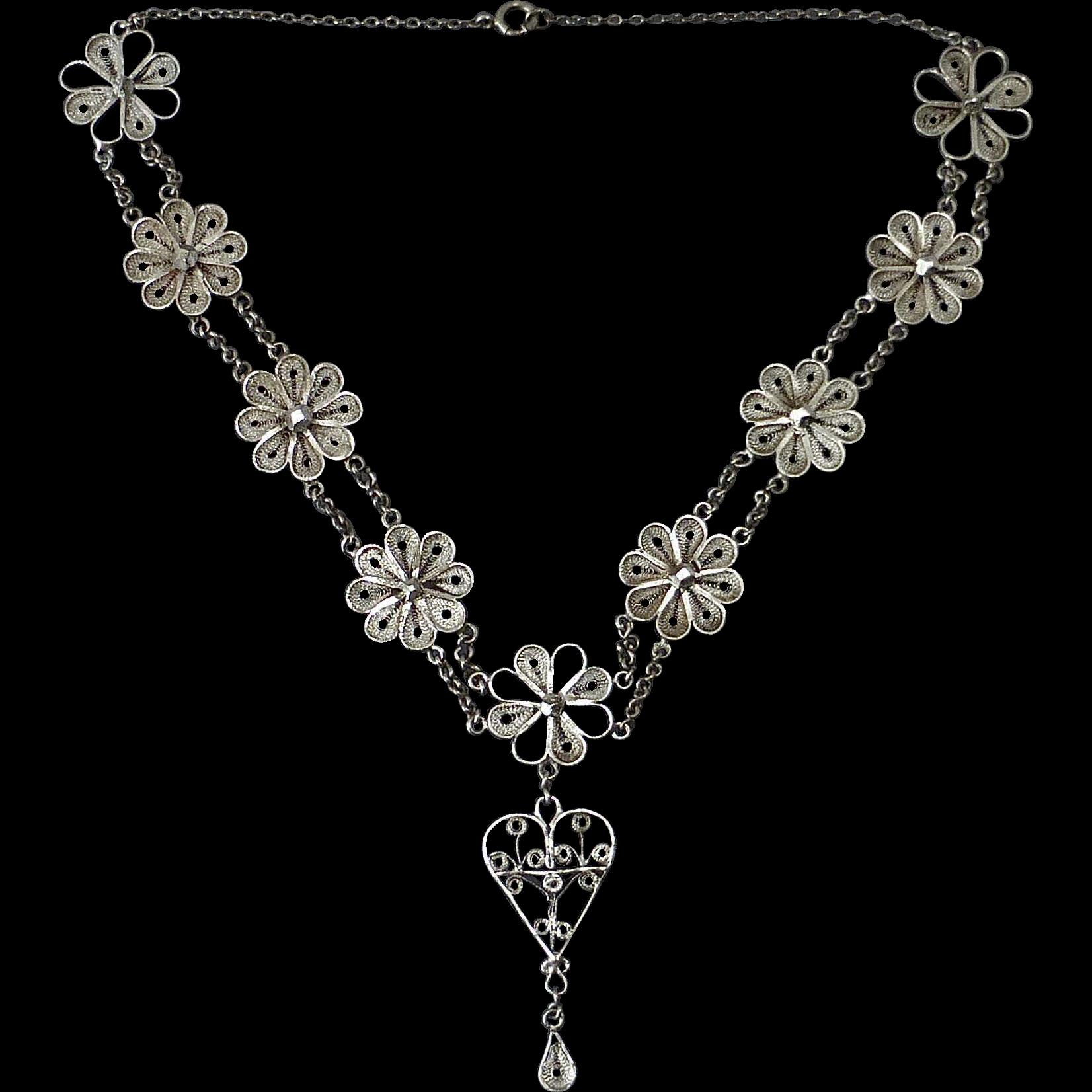 Sterling Filigree Flower Necklace w Center Drop