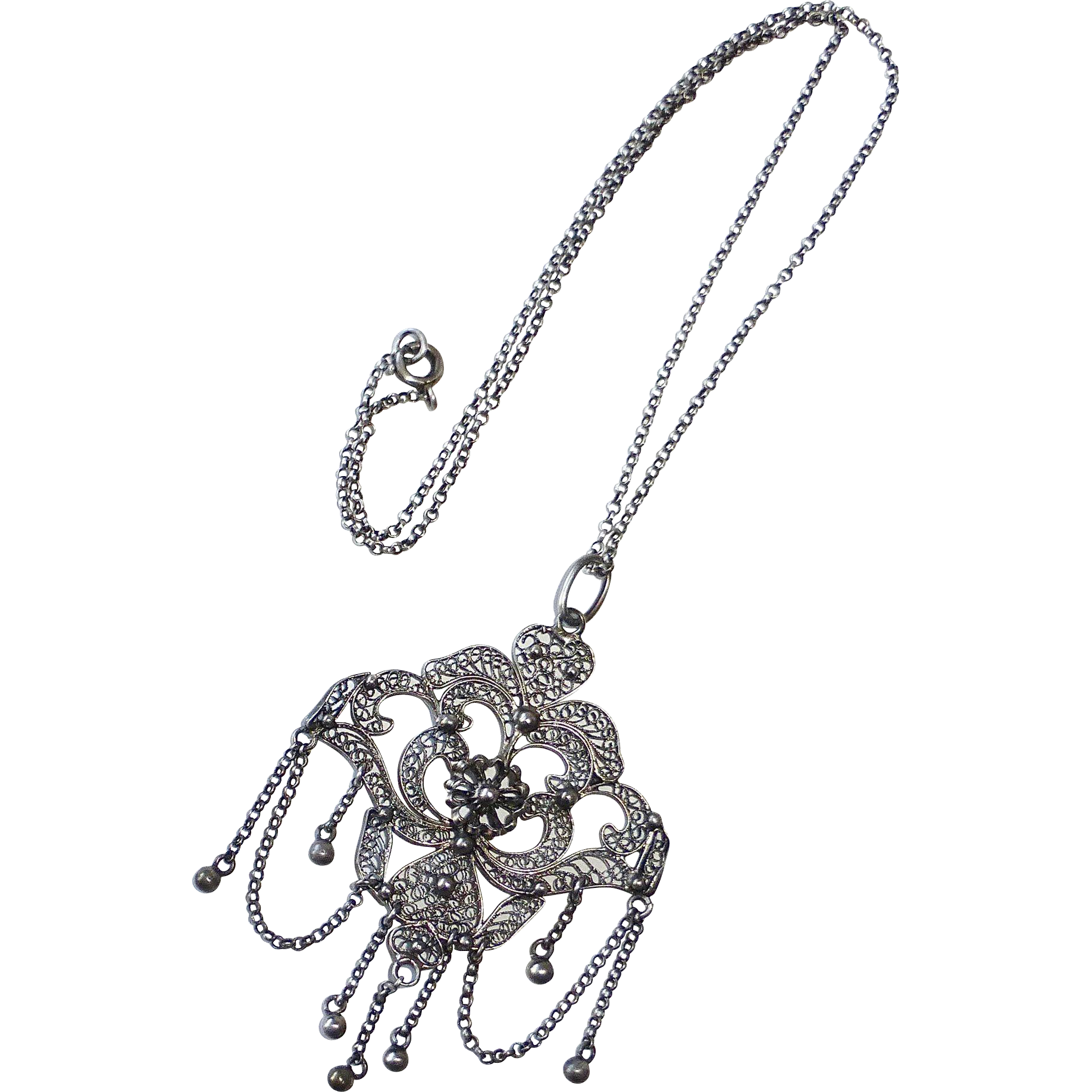 Victorian Sterling Filigree Festoon Pendant Necklace