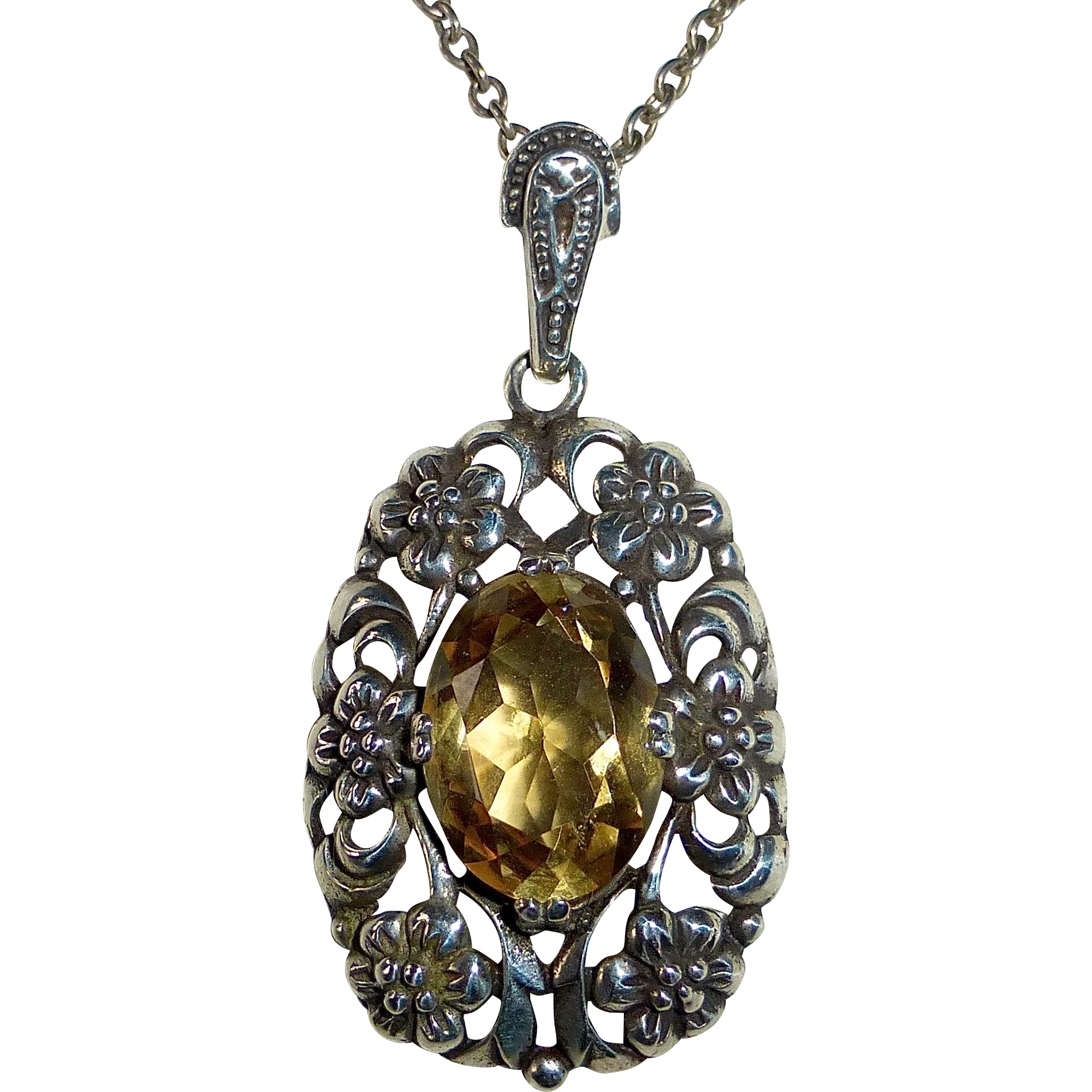 Sterling & Citrine Floral Pendant w Sterling Chain