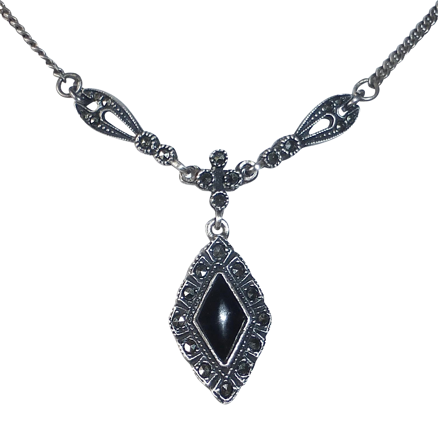 Sterling Marcasite & Onyx Drop Pendant Necklace