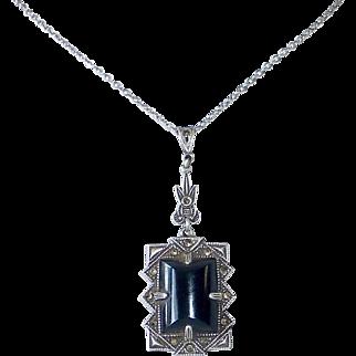 Art Deco Sterling Marcasite Onyx Pendant Necklace