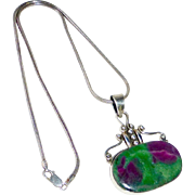 Sterling & Ruby Zoisite Pendant Necklace