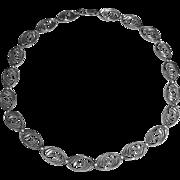 Art Deco WRE Sterling Silver Swirl Link Necklace