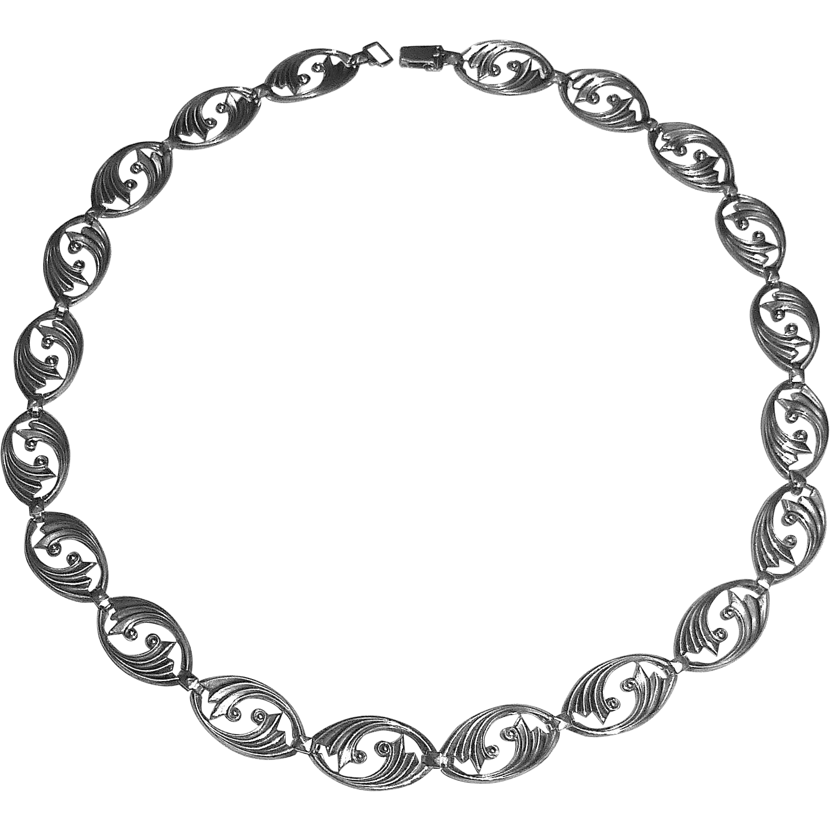 Art Deco WRE Sterling Silver Swirl Link Necklace