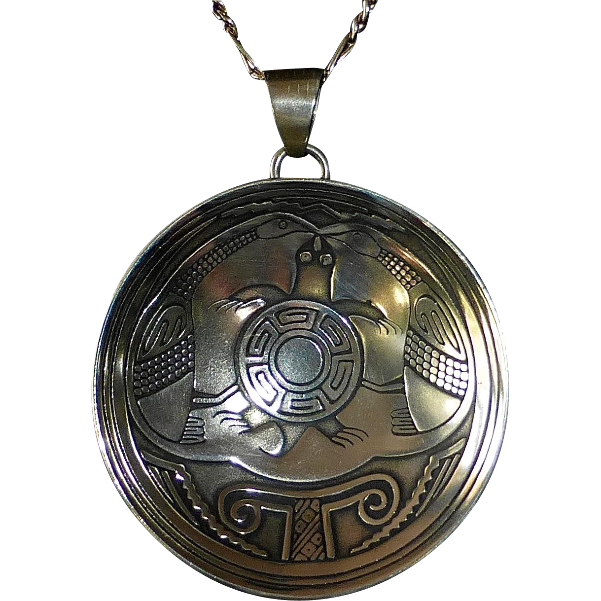 Native American TSM Sterling Turtle & Geese Pendant Necklace Mimbres Miniatures Collection