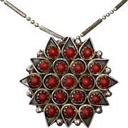 Zuni Sterling & Coral Petit Point Pendant Necklace/Pin