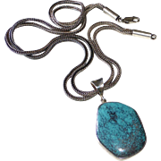 Sterling Silver Necklace Spiderweb Turquoise Pendant