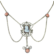 Victorian Gold Filled Hardstone Cameo, Filigree & Coral Festoon Necklace