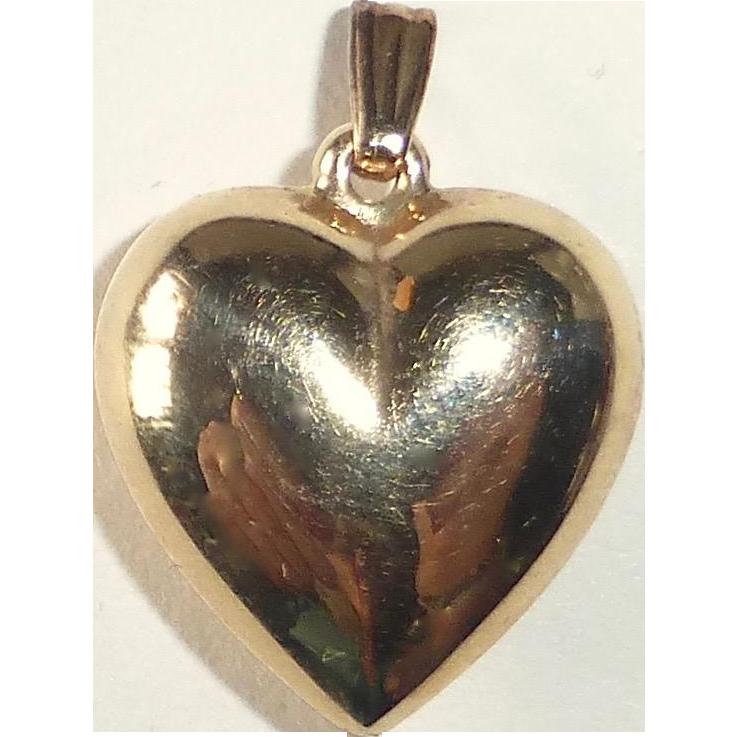 14k Yellow Gold Puffy Heart Pendant Charm