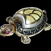 14k Enamel Hinged Turtle Kinetic Pendant w Ruby Eyes