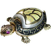 14k Enamel Hinged Turtle Kinetic Pendant w Ruby Eyes