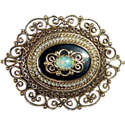 14k Victorian Revival Pendant/Pin Opal Onyx Seed Pearl