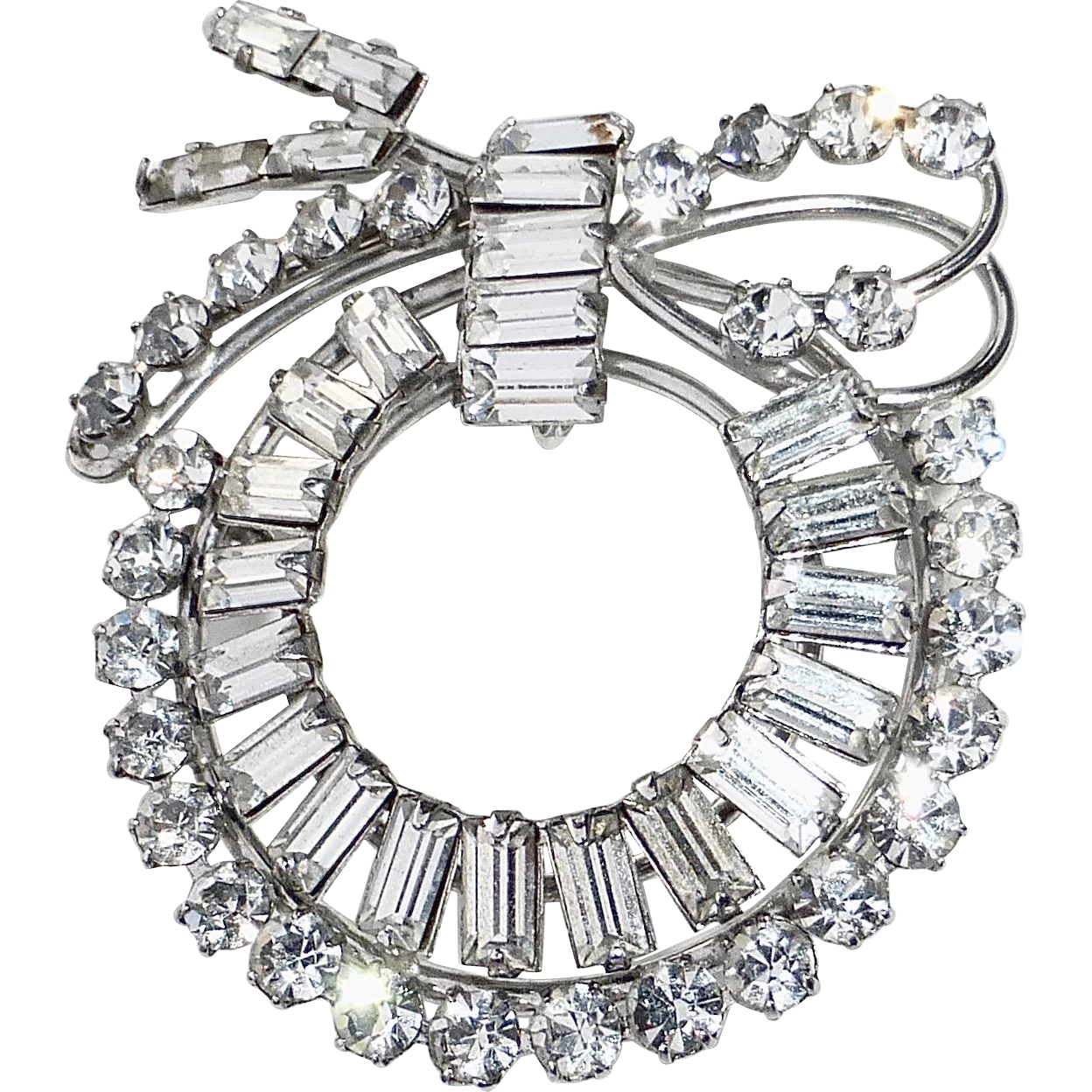Carl Art Sterling Sparkling Rhinestone Wreath Pendant & Pin Combo
