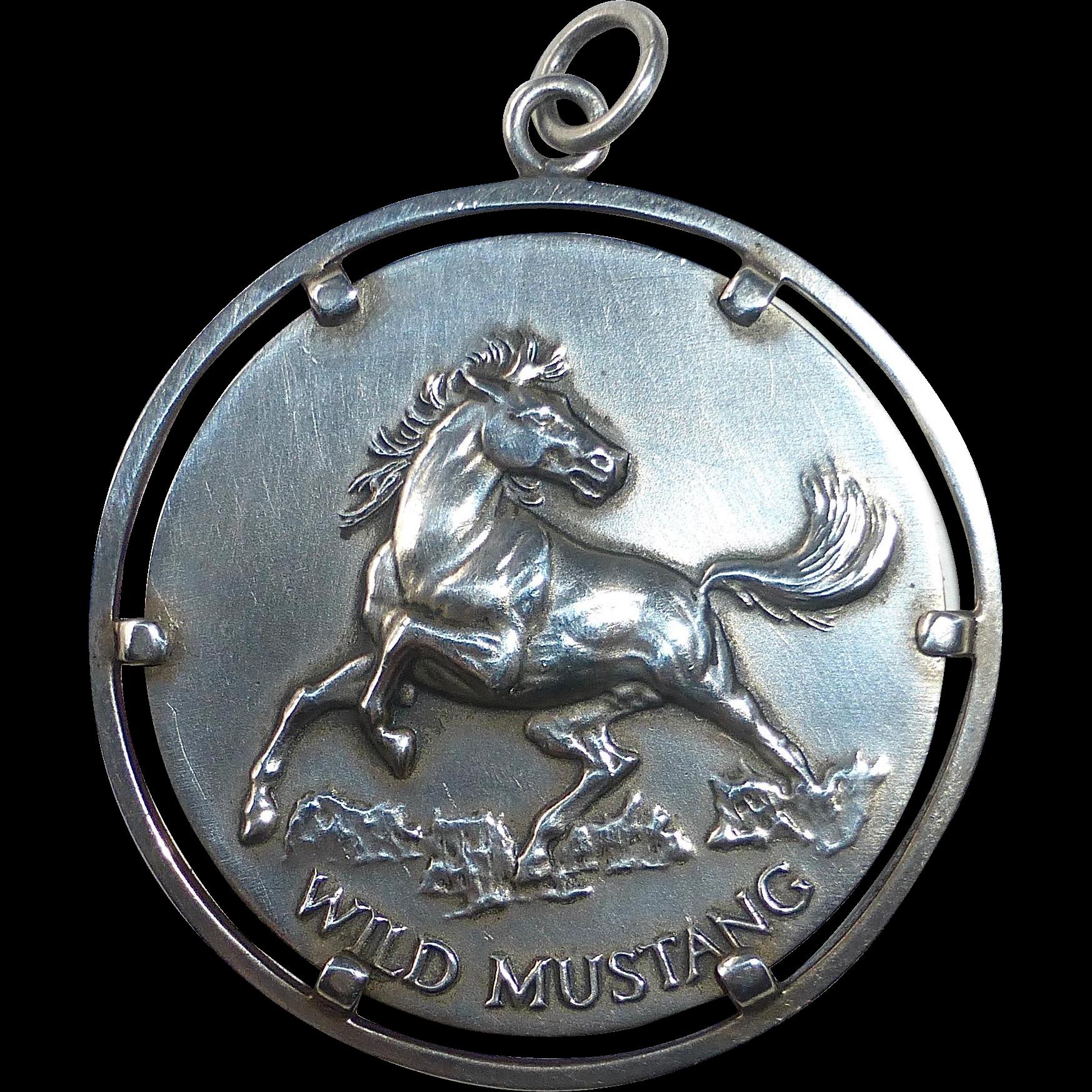 Sterling Silver Wild Mustang Spirit Horse Medallion