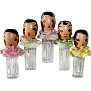 Set of 5 Quintuplet Perfume Bottles by Karoff c1936