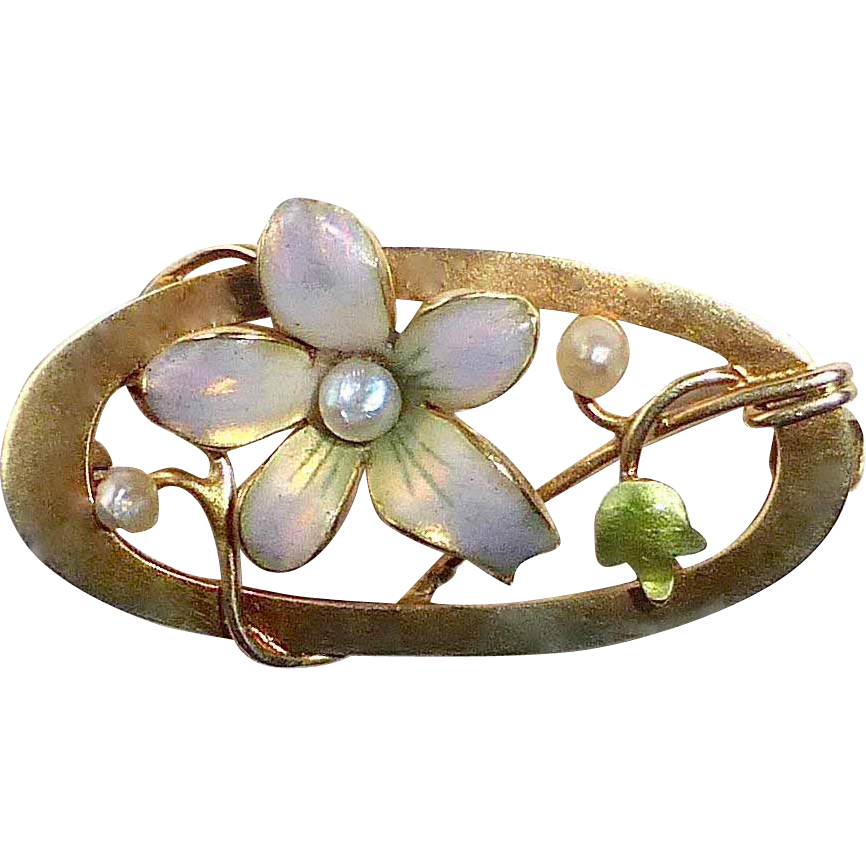 Edwardian Art Nouveau 10k Iridescent Enamel Pin Flower and Pearls