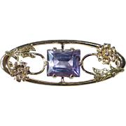 10k Yellow & Rose Gold Edwardian Pin Amethyst & Flowers
