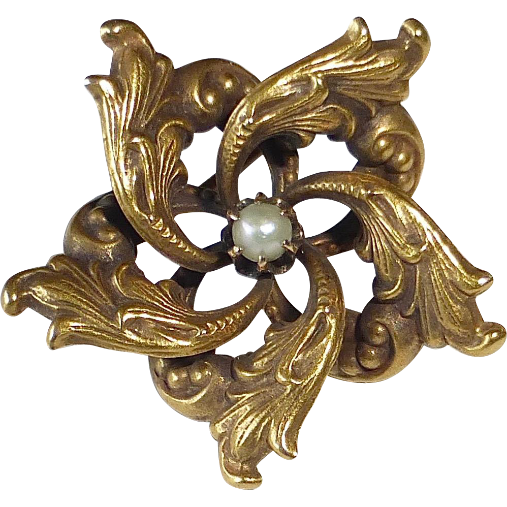 10K Victorian Art Nouveau Embossed Swirl Pin