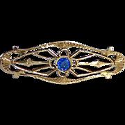 Antique Edwardian 10k Blue Jewel Filigree Lace Pin