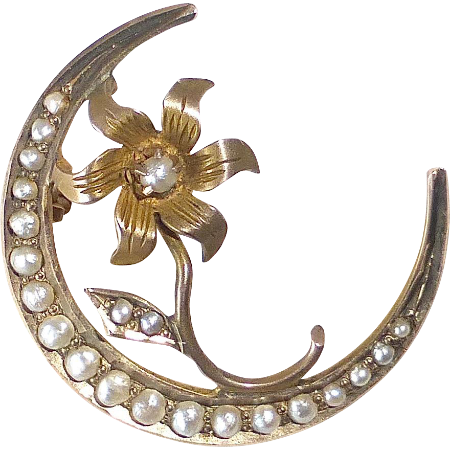 Victorian 10k Crescent & Flower Honeymoon Pin w Seed Pearls