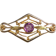 Antique Edwardian 10k Purple Jewel Filigree Lace Pin