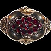 Antique Victorian 12k Rose Cut Garnet Holloware Pin
