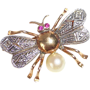 Art Deco 14k Bug Pin Rubies Diamonds Cultured Pearl