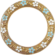 Antique Edwardian 14k Circle Pin Enamel Forget-Me-Nots