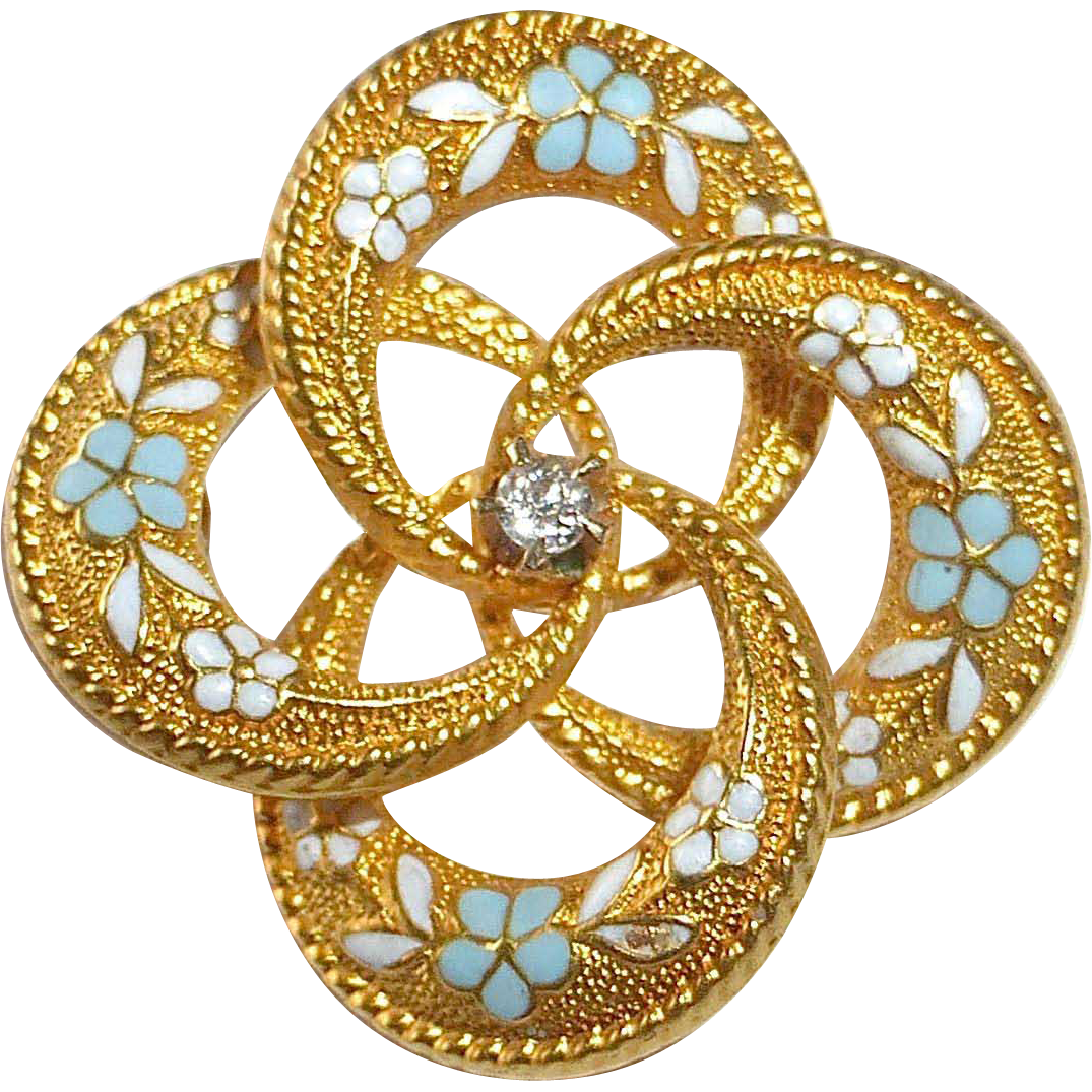 Antique Edwardian 14k Pin Entwined Circles Enamel Forget-Me-Nots Diamond Center