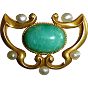 14k Art Nouveau Amazonite & Seed Pearl Watch Pin