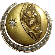 Art Nouveau 14k Pearl Studded Crescent Pin Woman & Engraved Star w Inset Diamond