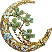 Antique Edwardian 14k Crescent Pin Enamel Four Leaf Clovers & Forget-Me-Nots