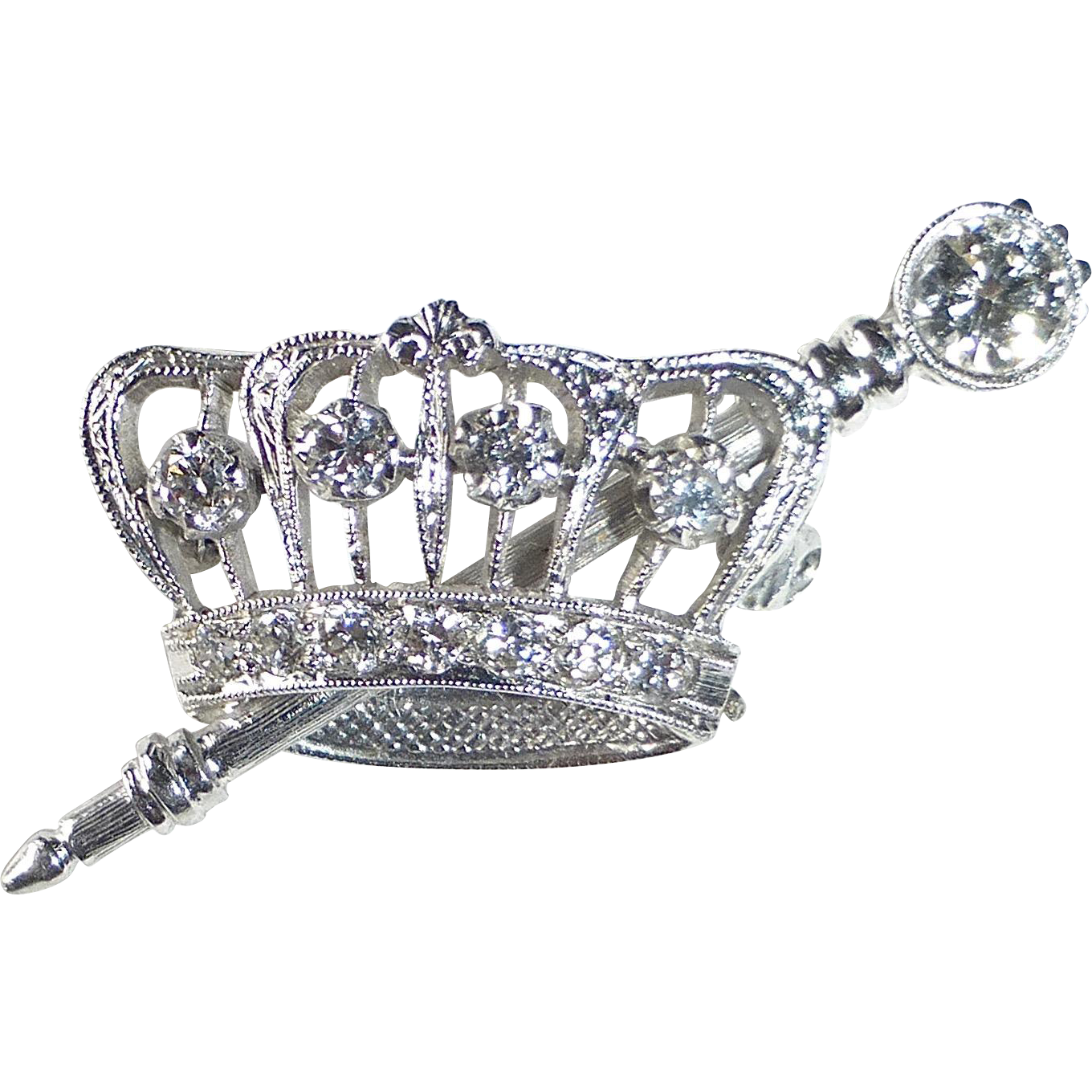 14k White Gold, Platinum & Diamond Crown & Scepter Pin