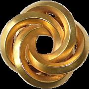 14k Art Deco Sculptural Interlocking Circles Pin