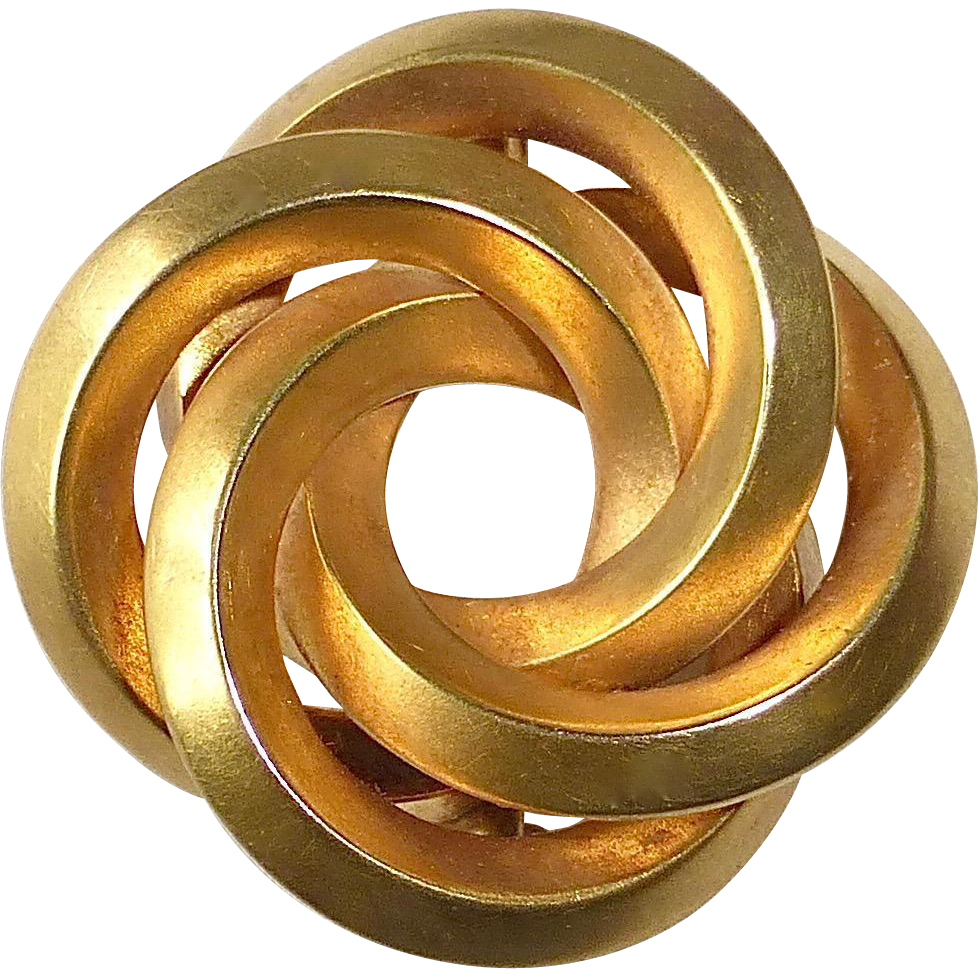 14k Art Deco Sculptural Interlocking Circles Pin