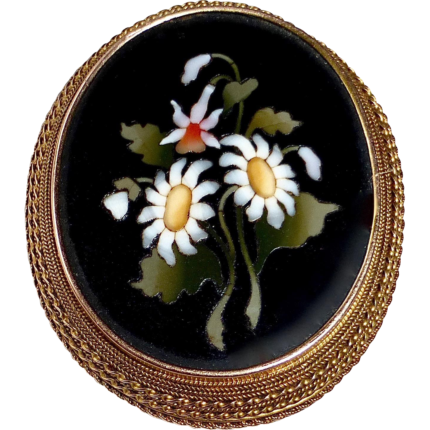 14k Victorian Italian Large Pietra Dura Floral Mosaic Pin