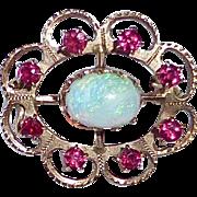 Antique 14k Rose Gold Opal & Lace Pin