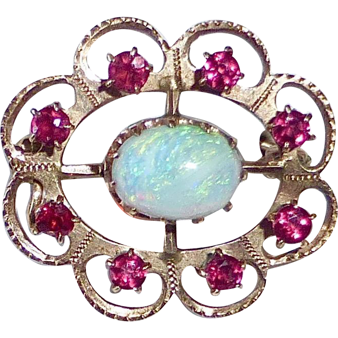 Antique 14k Rose Gold Opal & Lace Pin